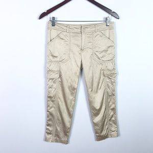 Cache Size 2 Cropped Cargo Pants Beige Pockets